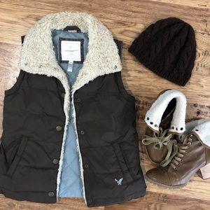 Retro Style Brown Puff Vest